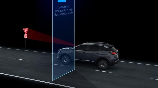 Nouveau SUV PEUGEOT 3008 - Reconnaissance des panneaux de vitesse