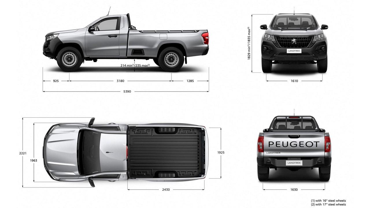 Nouveau pick-up PEUGEOT LANDTREK dimensions simple cabine